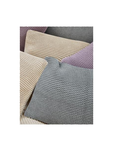Dzianinowa poszewka na poduszkę z bawełny organicznej  Adalyn, 100% bawełna organiczna, certyfikat GOTS, Szałwiowy zielony, S 40 x D 40 cm