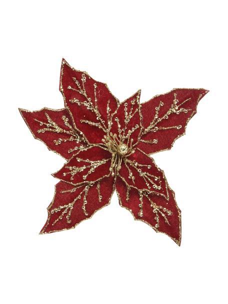 Kerstboomhangers Bloem, 2 stuks, Kunststof, Rood, goudkleurig, 20 x 20 cm