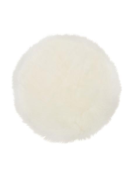 Nakładka na siedzisko ze skóry owczej Oslo, gładka, Kremowobiały, Ø 37 cm