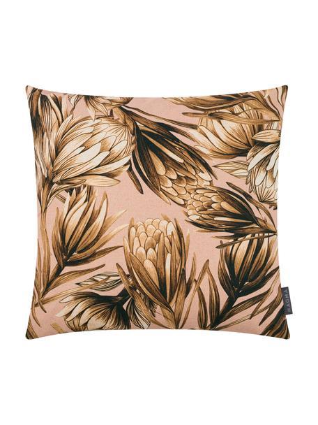 Kissenhülle Protea mit Blumenmuster, 85% Baumwolle, 15% Leinen, Rosa, Brauntöne, 50 x 50 cm