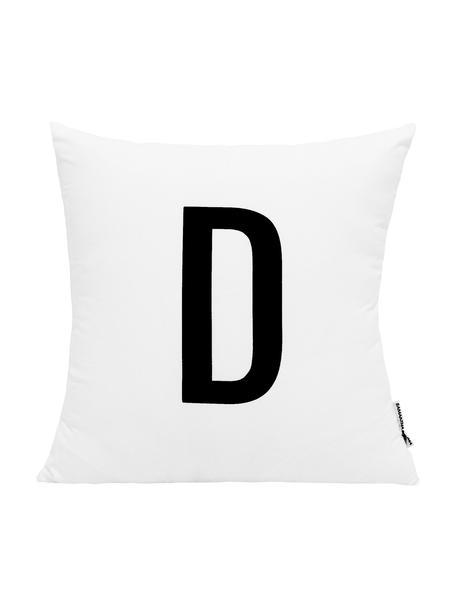 Kussenhoes Alphabet (varianten van A tot Z), 100% polyester, Zwart, wit, Variant D