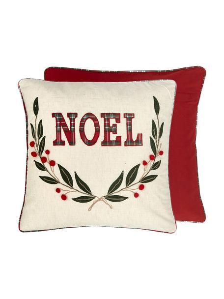 Haftowana dwustronna poszewka na poduszkę Noel, Bawełna, Przód: kremowy, czerwony, zielony Tył: czerwony, S 45 x D 45 cm