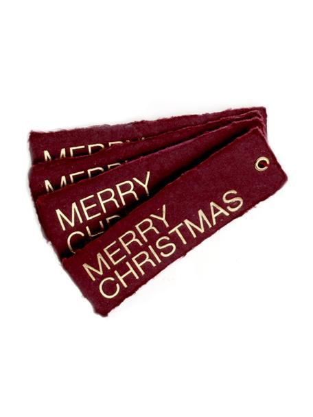 Etiquetas para regalo Christmas, 4uds., Ojal: metal recubierto, Dorado, color vino, An 4 x L 12 cm