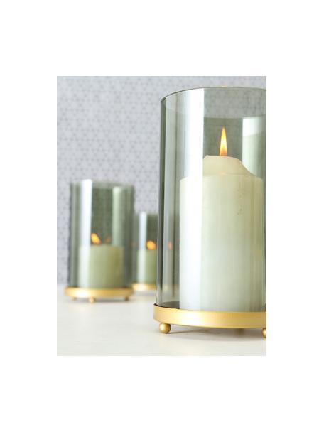 Windlichtenset Knikki, 3-delig, Gelakt glas, Donkergroen, Set met verschillende formaten