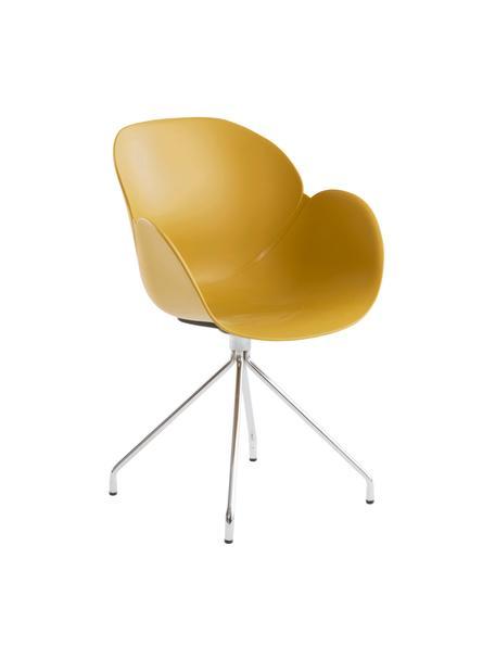 Krzesło biurowe Nikko, Nogi: metal, Żółty, S 60 x G 58 cm