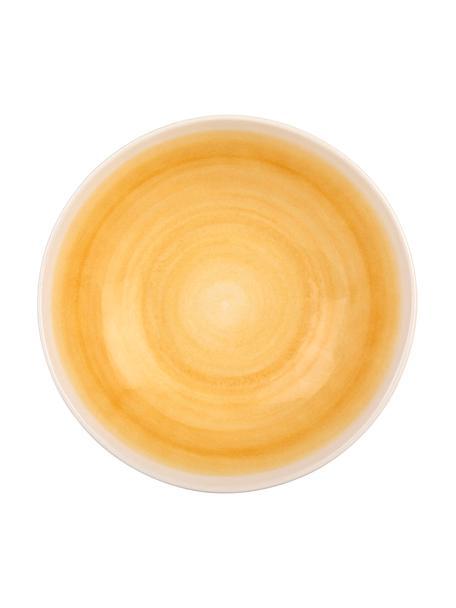 Handgemaakte saladeschaal Pure mat/glanzend met kleurverloop, Ø 26 cm, Keramiek, Geel, wit, Ø 26 x H 7 cm