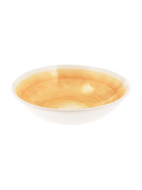 Ręcznie wykonana misa do sałatek Pure, Ceramika, Żółty, biały, Ø 26 x W 7 cm