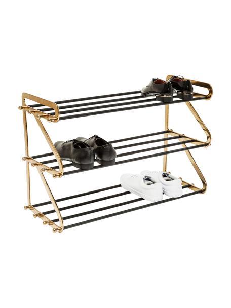 Metalen schoenenrek Walk met twee schappen, Frame: gepoedercoat aluminium, Messingkleurig, zwart, 84 x 55 cm