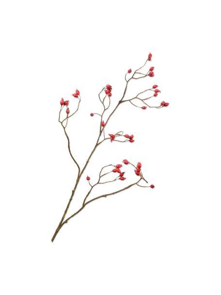 Kunst-Hagebuttenzweig, Rot, Kunststoff, Metalldraht, Rot, Braun, L 89 cm