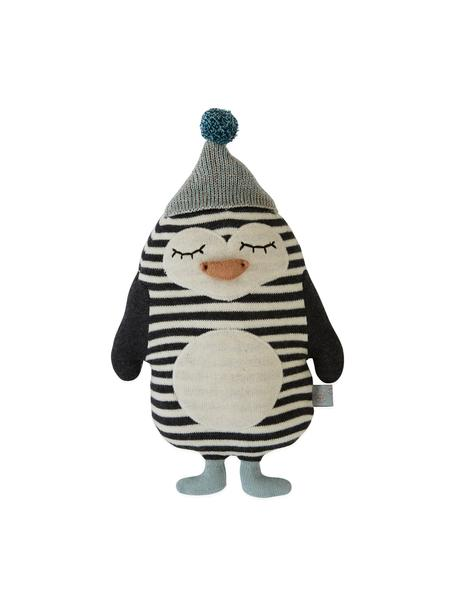 Peluche pinguino soffice Bob, Cotone, Bianco latteo, nero, verde menta, arancione, Larg. 18 x Alt. 26 cm