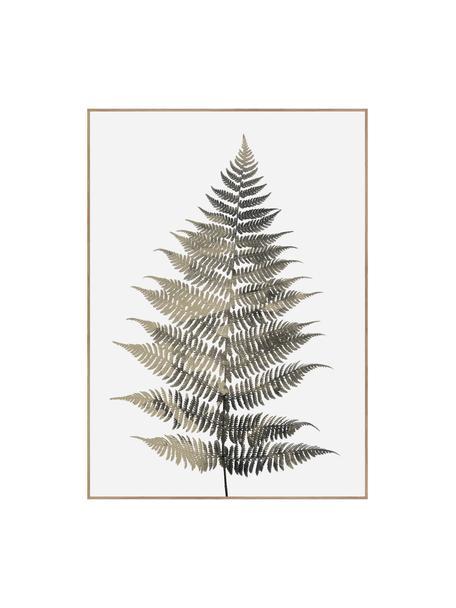 Oprawiony druk cyfrowy Fern One, Odcienie zielonego, biały, S 50 x W 70 cm