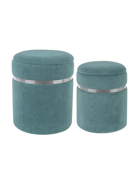 Set de pufs Remvira, 2pzas., Estructura: tablero de fibras de dens, Tapizado: poliéster, Azul, plateado, Set de diferentes tamaños