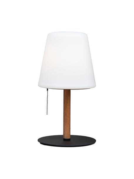 Outdoor tafellamp Northern, Lampenkap: kunststof (ABS), Lampvoet: hout, Voetstuk: gecoat metaal, Wit, bruin, zwart, Ø 17 x H 30 cm