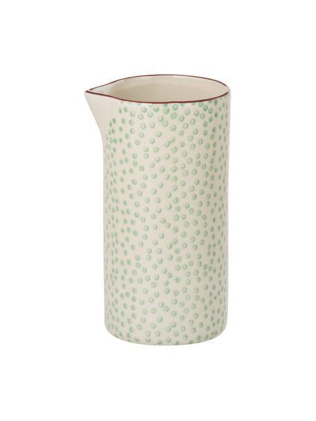 Handbeschilderde melkkan Patrizia met een speels patroon, 300 ml, Steengoed, Groen, crèmekleurig, paars, Ø 6 x H 12 cm