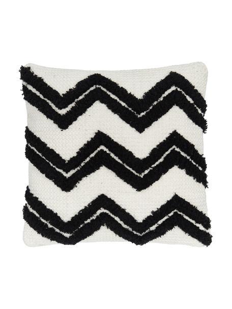 Boho kussenhoes Akesha met getuft zigzagpatroon, 100% katoen, Ecru, zwart, 45 x 45 cm