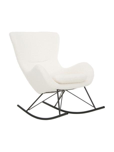 Teddy schommelstoel Wing in crèmewit met metalen poten, Bekleding: polyester (teddyvacht), Frame: gegalvaniseerd metaal, Teddy crèmewit, zwart, B 77 x D 109 cm