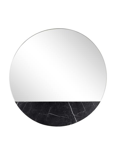 Ronde wandspiegel Stockholm met marmerlook, Lijst: melamine, Zwart gemarmerd, Ø 40 cm