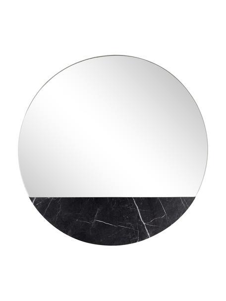 Runder Wandspiegel Stockholm in Marmoroptik, Rahmen: Melamin, Spiegelfläche: Spiegelglas, Rückseite: Mitteldichte Holzfaserpla, Schwarz marmoriert, Ø 40 cm