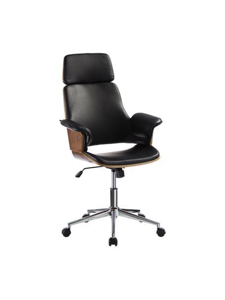 Krzesło biurowe ze sztucznej skóry Wheels, obrotowe, Tapicerka: sztuczna skóra, Nogi: stal szlachetna, Czarny, S 68 x G 64 cm