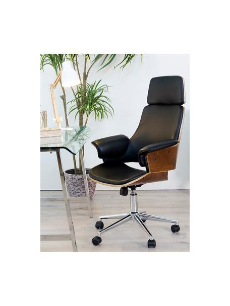 Kunstleren bureaustoel Wheels, in hoogte verstelbaar, Bekleding: kunstleer, Poten: edelstaal, Zitvlak: hout, Zwart, 68 x 64 cm