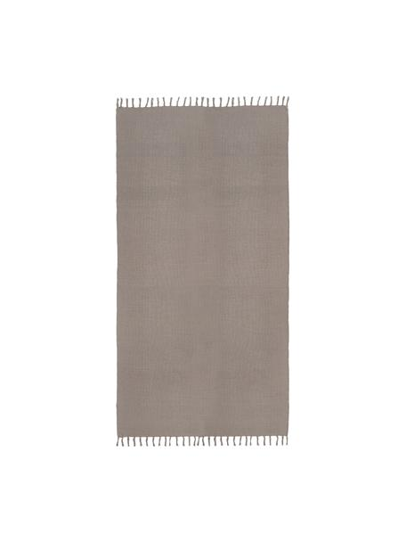 Dünner Baumwollteppich Agneta in Grau, handgewebt, 100% Baumwolle, Grau, B 50 x L 80 cm (Grösse XXS)