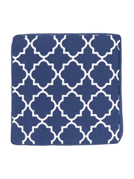 Cuscino sedia alto blu scuro/bianco Lana, Rivestimento: 100% cotone, Blu, Larg. 40 x Lung. 40 cm