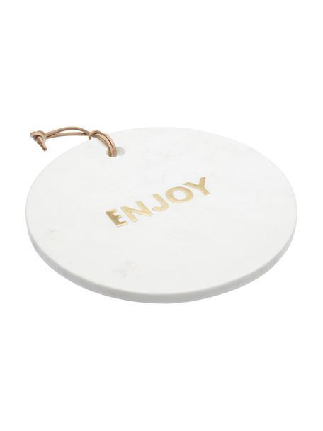 Deska do serwowania z marmuru Artesa, Marmur, Biały, odcienie złotego, Ø 26 cm