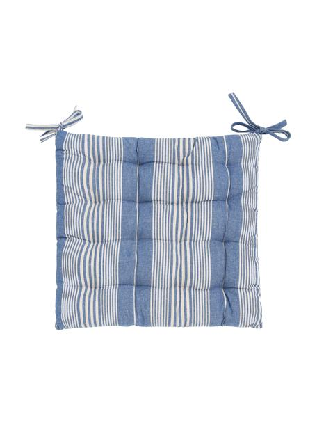 Cojín de asiento de algodón Tosa, 100%algodón, Azul, blanco, An 40 x Al 4 cm