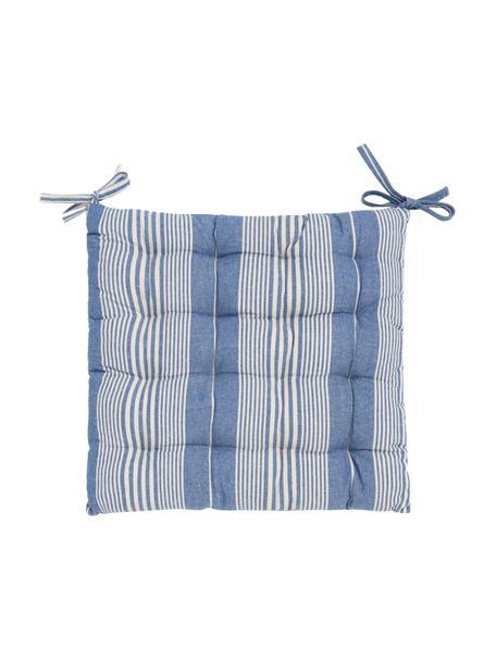 Gestreept katoenen stoelkussen Tosa, 100% katoen, Blauw, wit, 40 x 4 cm