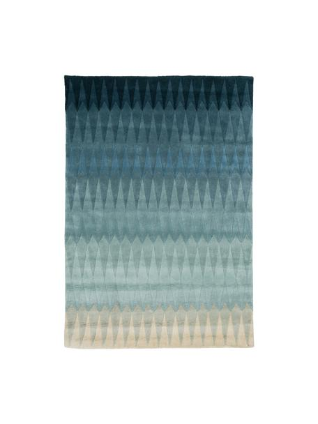 Alfombra artesanal de diseño Acacia, Parte superior: lana, Reverso: algodón, Azul, tonos beige, An 140 x L 200 cm (Tamaño S)