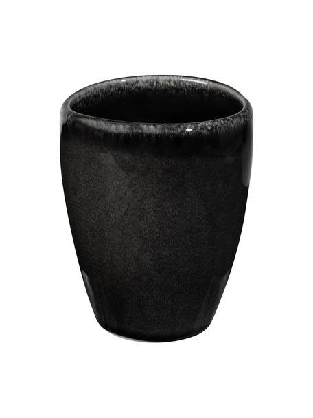 Handgemaakte beker Nordic Coal van keramiek, 6 stuks, Keramiek, Bruin, Ø 8 x H 10 cm