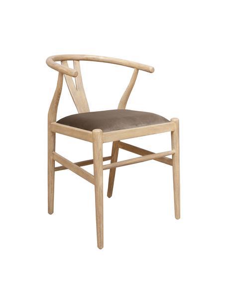 Sedia in legno sungkai Malmo, Rivestimento: velluto, Struttura: legno Sungkai, solido, Marrone, Larg. 60 x Prof. 51 cm