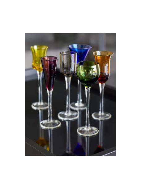 Vasos de chupito de vidrio soplado artesanalmente Lyngby, 6uds., Vidrio, Verde, azul, marrón, amarillo, lila, naranja, Ø 5 x Al 16 cm