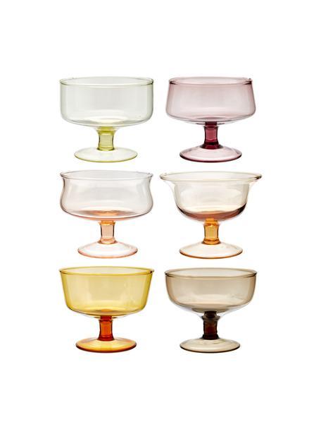 Copas de helado de vidrio sopaldo artesanalmente Desiguale, 6uds., Vidrio soplado artesanalmente, Multicolor, Ø 12 x Al 8 cm