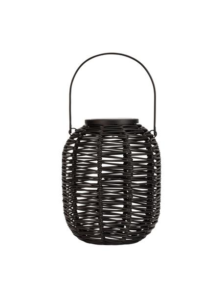 Outdoor solar lamp Treasure om op te hangen of te zetten, Lampenkap: polyrotan, Zwart, Ø 16 x H 20 cm