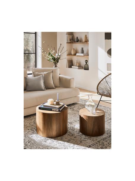 Set de mesas auxiliares Dan, 2uds., Tablero de fibras de densidad media(MDF) con chapado de nogal, Acabado de madera de nogal, Set de diferentes tamaños