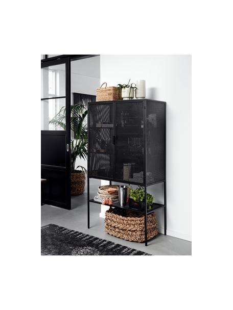 Metalen vitrinekast Wire in zwart, Gepoedercoat metaal, Zwart, 90 x 167 cm