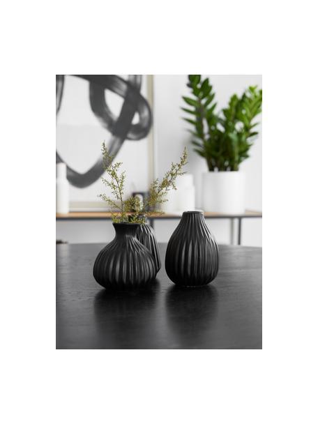 Komplet małych wazonów z porcelany Esko, 3 elem., Porcelana, Czarny, Komplet z różnymi rozmiarami