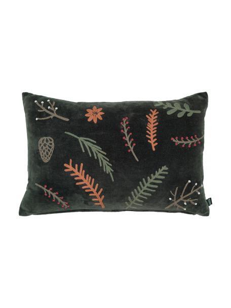 Cuscino verde ricamato Treasures, 100% cotone, Verde scuro, arancione, taupe, Larg. 40 x Lung. 60 cm