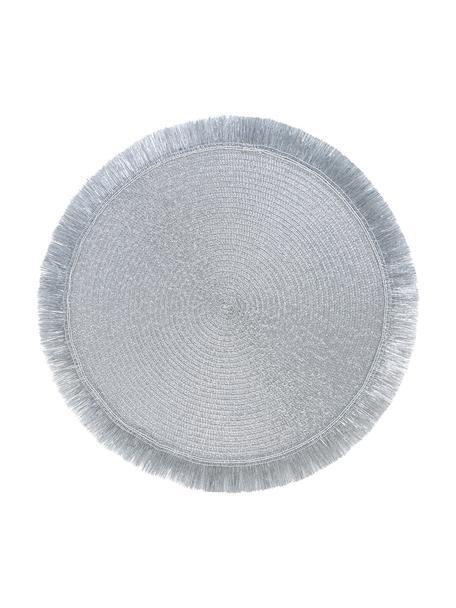 Runde Kunststoff-Tischsets Linda in Silber mit Fransen, 6 Stück, Kunststoff, Silberfarben, Ø 38 cm