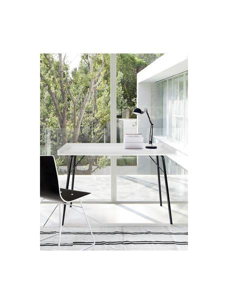 Schreibtisch Rayburn mit weißer Tischplatte, Tischplatte: Mitteldichte Holzfaserpla, Gestell: Metall, pulverbeschichtet, Weiß, B 115 x T 52 cm