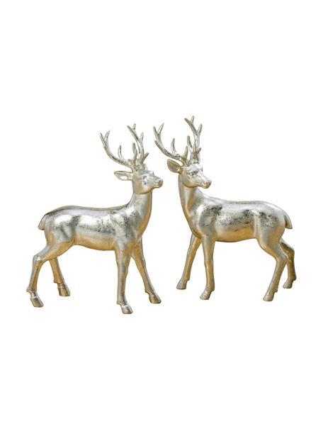 Deko-Hirsche Tobin in Silber H 22 cm, 2 Stück, Kunstharz, Silberfarben, 16 x 22 cm