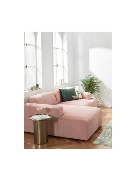 Cord-Ecksofa Melva (3-Sitzer) in Rosa, Bezug: Cord (92% Polyester, 8% P, Gestell: Massives Kiefernholz, FSC, Füße: Kunststoff, Cord Rosa, B 239 x T 143 cm