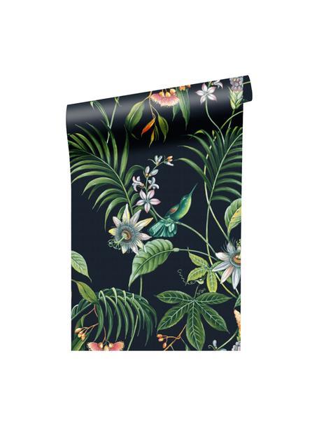 Carta da parati Tropical Leaves, Tessuto non tessuto, Nero, multicolore, Larg. 52 x Lung. 1005 cm