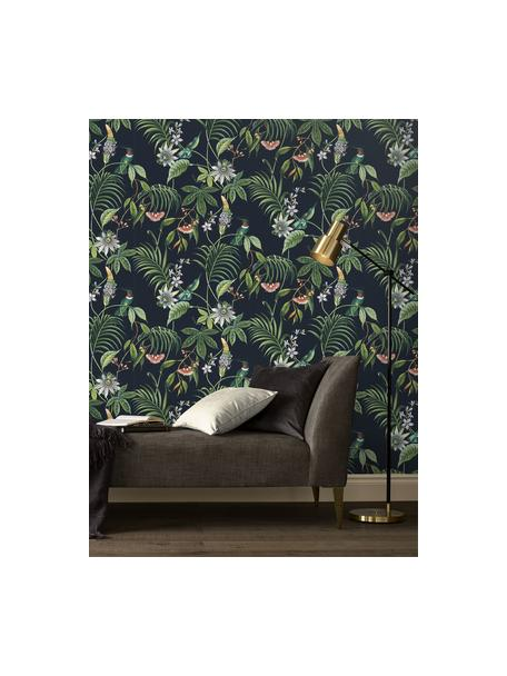 Papel pintado Tropical Leaves, Tejido no tejido, Negro, multicolor, An 52 x L 1005 cm