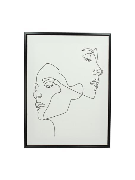 Cuadro sobre lienzo enmarcado Opal, Blanco, negro, An 45 x Al 60 cm
