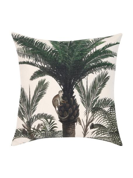 Kussenhoes Balu met palmenprint, 100% katoen, Ecru, groen, 40 x 40 cm