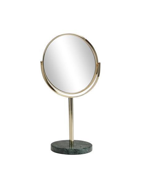 Runder Kosmetikspiegel Ramona mit grünem Marmorfuß, Rahmen: Metall, Fuß: Marmor, Spiegelfläche: Spiegelglas, Goldfarben, Grün, Ø 20 x H 34 cm