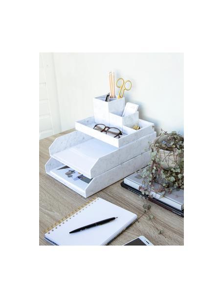 Documentenhouder Hakan, 2 stuks, Massief, gelamineerd karton, Gemarmerd wit, B 23 x D 31 cm