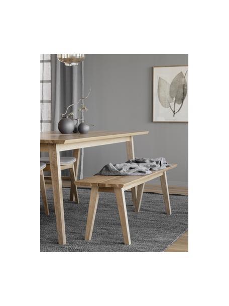 Banco de madera de roble Melfort, Asiento: tablero de fibras de dens, Bordes: madera de roble maciza, Patas: madera de abedul maciza c, Beige, An 144 x Al 45 cm